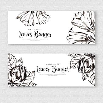 Bela aquarela floral preto e branco banner