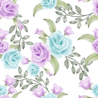 Bela aquarela floral rosa padrão sem emenda elegante