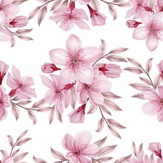 Bela aquarela floral rosa padrão sem emenda