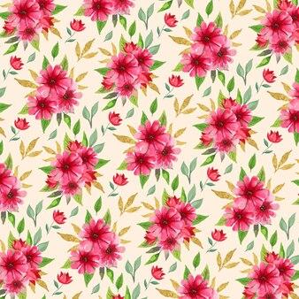 Bela aquarela floral rosa primavera padrão sem emenda