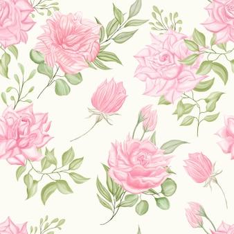 Bela aquarela floral sem costura de fundo