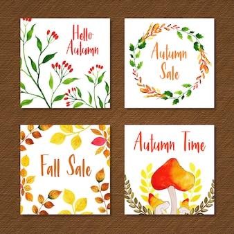 Bela aquarela outono coleção de cartões