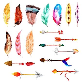 Bela aquarela pena e coleção de flechas
