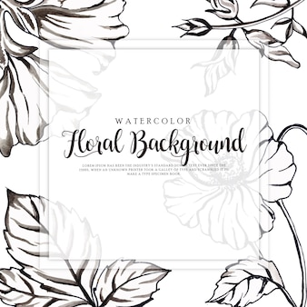 Bela aquarela preto e branco floral background