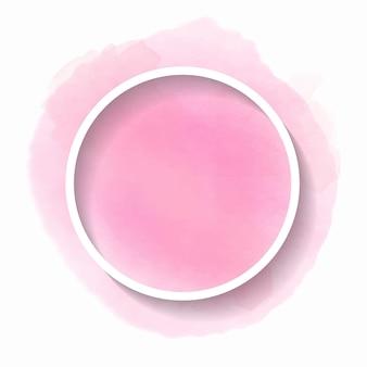 Bela aquarela rosa com uma moldura redonda para texto