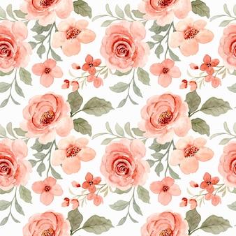 Bela aquarela rosa flor padrão sem emenda