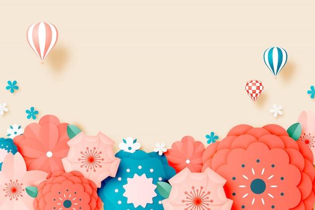 Bela arte de papel floral com cor pastel