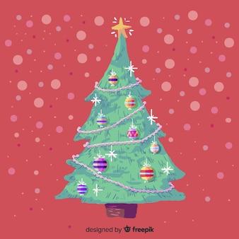 Bela árvore de natal em aquarela