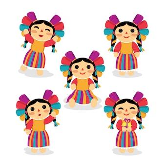 Bela boneca mexicana conjunto de design de personagens