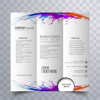 Bela brochura comercial com grunge colorido
