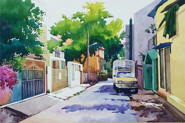Bela casa desenhada à mão em aquarela, ilustração de paisagem natural