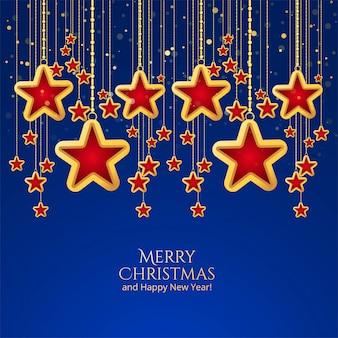 Bela celebração de estrelas de natal em fundo azul