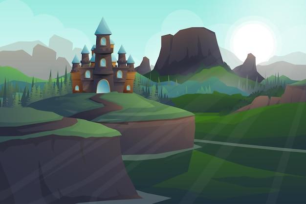 Bela cena de um grande castelo na natureza com o sol nascendo na montanha pela manhã, ilustração da paisagem