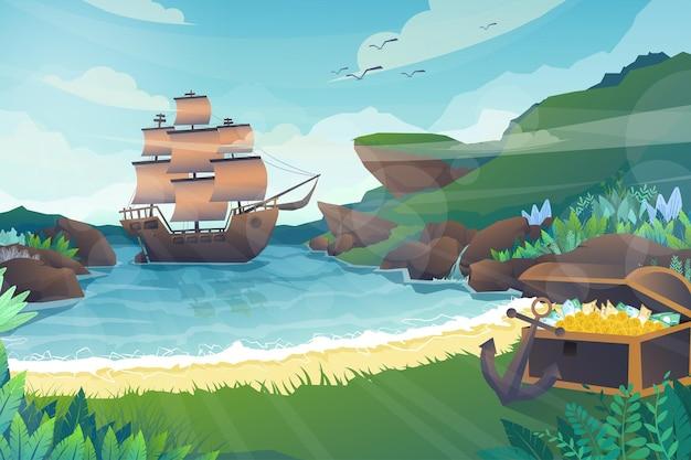 Bela cena do galeão ancorado flutuando no mar da ilha. cercado por falésias e baú de tesouro cheio na praia, natureza com raios de sol e pássaros no céu, ilustração