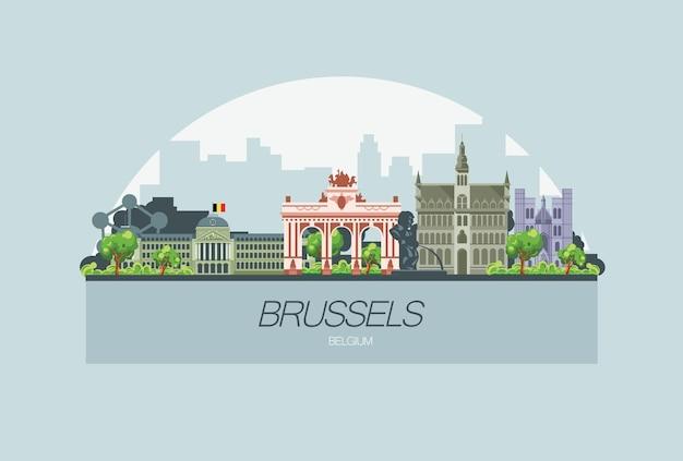 Bela cidade do horizonte de bruxelas na europa