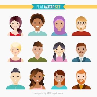Bela coleção avatar plana