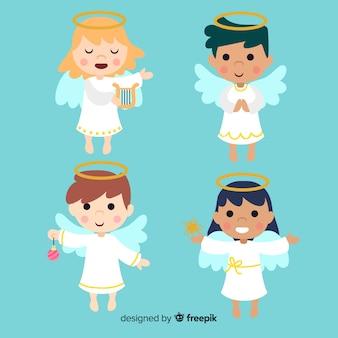 Bela coleção de anjo natal plana