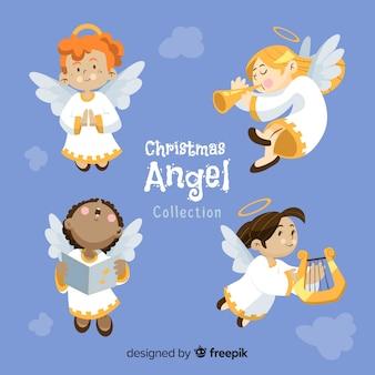 Bela coleção de anjos de natal plana