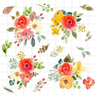 Bela coleção de aquarela arranjo floral
