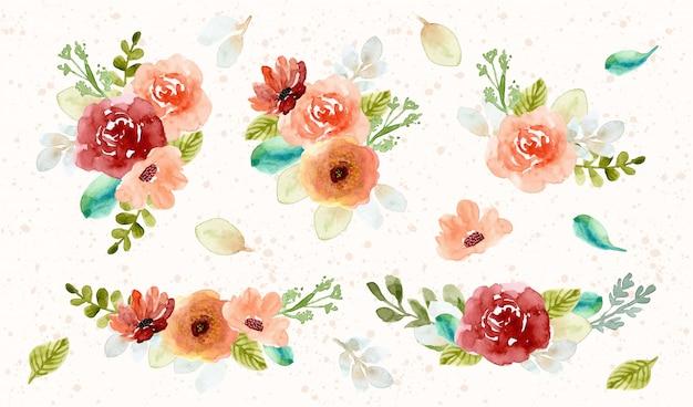 Bela coleção de aquarela de arranjo de flor