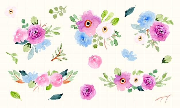 Bela coleção de arranjo floral em aquarela