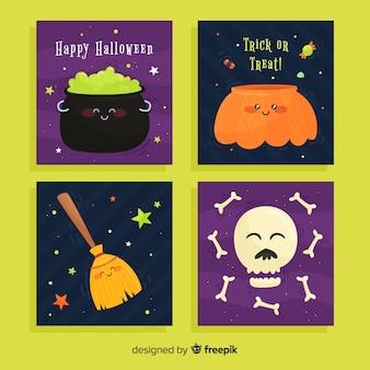 Bela coleção de cartão de dia das bruxas