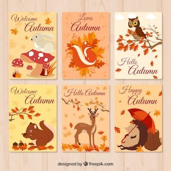 Bela coleção de cartões de outono