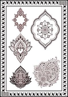 Bela coleção de flor desenho henna e tatuagens cor preta