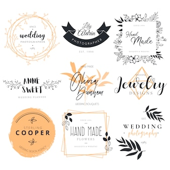 Bela coleção de logotipo para fotografia de casamento, decoração e planejador