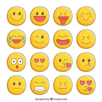Bela coleção de mão desenhada smileys