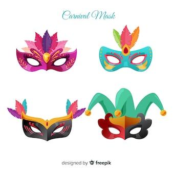 Bela coleção de máscara de carnaval