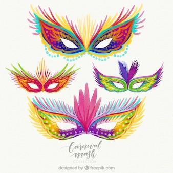 Bela coleção de máscaras de carnaval desenhadas a mão
