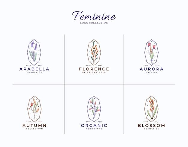 Bela coleção de modelos de logotipos femininos botânicos