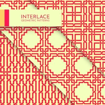 Bela coleção de padrões geométricos complexos modernos entrelaçados vibrantes