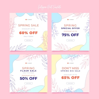 Bela coleção de postagens de instagram de venda de primavera