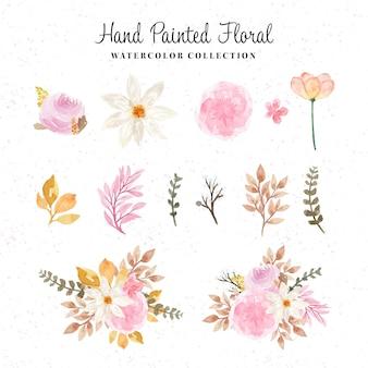 Bela coleção floral aquarela pintada à mão