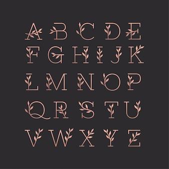 Bela coleção floral monoline do alfabeto