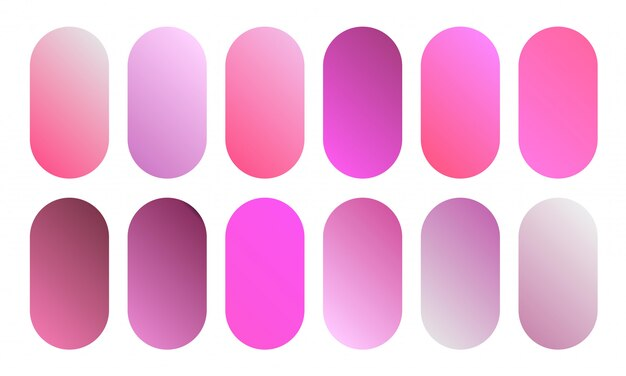 Bela coleção gradiente rosa. conjunto de botões de cores suaves e vibrantes