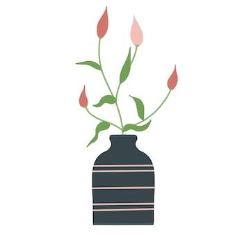 Bela composição de florescência com folhas e caule isolado no branco. plantas com flores e ervas. lindo buquê de flores com ramos decorativos em ilustração vetorial plana de vaso.