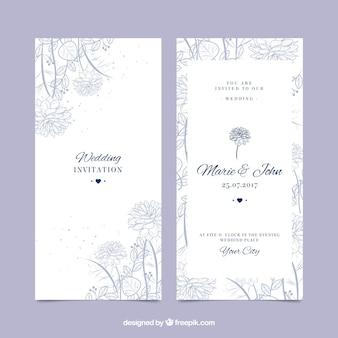 Bela convite de casamento com vegetação desenhada a mão