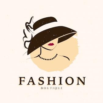 Bela dama no retrato de chapéu. ilustração em vetor plana mão desenhada.