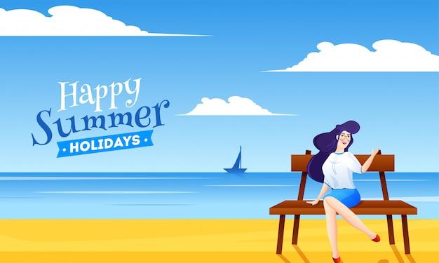 Bela dama sentado no banco com fundo de vista de praia para férias de verão feliz