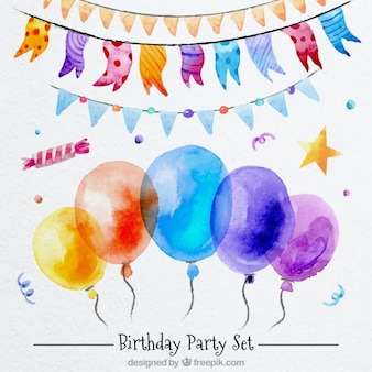 Bela decoração de aniversário no efeito aquarela
