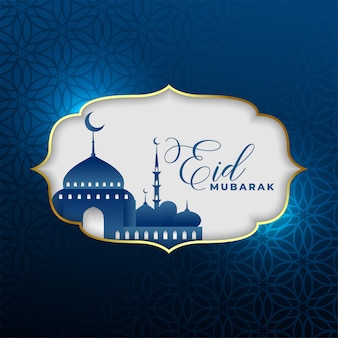 Bela eid mubarak design de cartão na cor azul