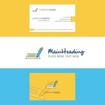Bela escrita logotipo e cartão de visita. vertical