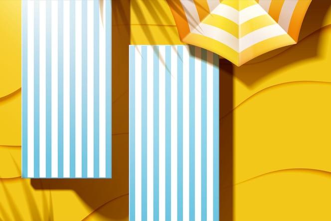Bela espreguiçadeira de praia de verão com guarda-sol em ilustração 3d