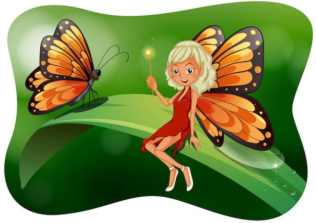 Bela fada com ilustração de borboleta