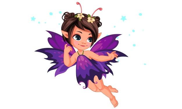 Bela fada pequena flor voando