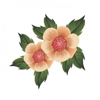 Bela flor com folhas ícone isolado