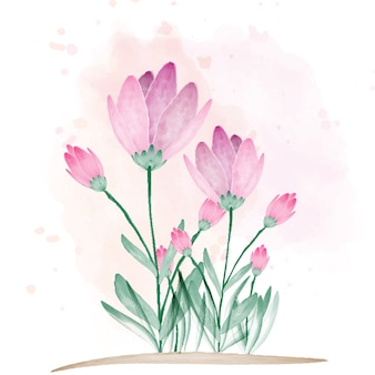 Bela flor com pincel de cor